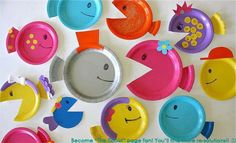 School of Paper Plate Fish Bright cheery paper plates turn into a school of fish in just a couple of easy steps. Easy enough for toddlers to work on with a little help from an adult. The post School of Paper Plate Fish was featured on Fun Family Crafts. Kids Crafts, Paper Plate Crafts For Kids, Preschool Crafts, Easy Crafts, Craft Projects, Arts And Crafts, Paper Crafts, Craft Ideas, Diy Paper