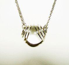 POOLS Of LIGHT Necklace Caged Natural Rock Crystal Quartz SILVER Plated Moderne #artjewelryforyou
