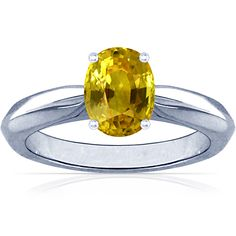 Oval Cut Yellow Sapphire Knife-Edge Solitaire Ring (5.34cttw)