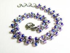 Iridescent Purple Beaded Stainless Steel Anklet - Purple Beaded Chainmaille Ankle Chain via Etsy