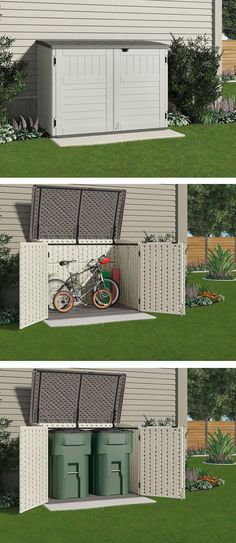 This small storage shed is just the right size to store your bicycles safely or to hide garbage cans. It won't take up a lot of room from your backyard or side yard or spoil the look of your home. (back yard storage) Shed Storage, Small Storage, Garage Storage, Bike Storage Small Space, Diy Storage, Creative Storage, Bicycle Storage Shed, Backyard Storage Sheds, Suncast Storage Shed