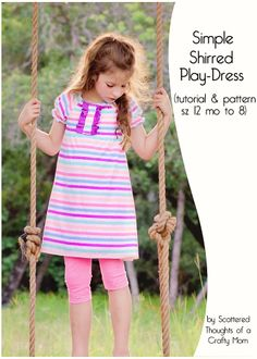 Easy to sew, free play-dress printable pdf pattern and tutorial. (size 12 month to 8)