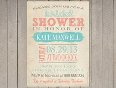 Vintage Bridal Shower Invitation Baby Typography Poster Teal Turquoise Aqua Coral