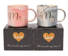 Luspan Mr and Mrs Couples Coffee Mugs - Unique Wedding Gift for Bride and Groom - Gift for Bridal Shower Engagement Wedding and Married Couples - Ceramic Marble Cups 13 oz(Grey and Pink) Wedding Gifts For Bride And Groom, Wedding Gifts For Couples, Unique Wedding Gifts, Bride Gifts, Unique Weddings, Outdoor Weddings, Couples Coffee Mugs, Couple Mugs, Couple Gifts