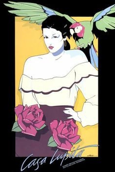 Patrick Nagel ~ Casa Lupita Serigraph Limited-edition art poster, woman with parrot Illustration, Serigraph, Drawings, Retro Art, Art, Artwork Painting, Pop Art, Nagel Art, American Artists