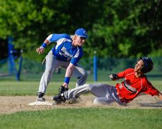 Georgetown's Kevin Terban makes the tag on a steal attempt against Tech Boston.