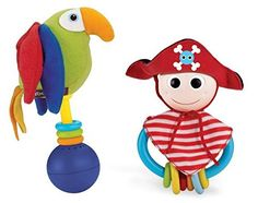 Baby Rattle Toy and Teething Ring Set of 2 Pirate Teether Toy and Parrot Baby Rattle Musical Rattle Set for Early Development * Check out the image by visiting the link.Note:It is affiliate link to Amazon.