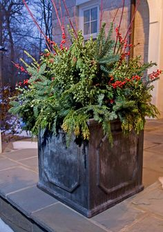 outdoor fall flower pot arrangements | Holiday Outdoor Decorating Tips from Mariani Landscape - Traditional ...