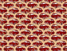 Red Vintage Cars Retro Digital Paper Design by blossompaperart, $1.30