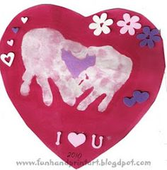 Handprint heart for kid valentines craft