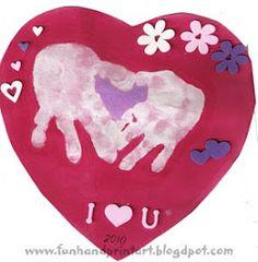 Handprint heart for kid valentines craft