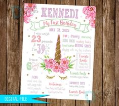 Create a fun, memorable unicorn milestone poster for your child's special day! These personalized birthday posters are a sure hit for any event and include many of their cherished milestones including things they can do, favorite foods or toys, current weight and height and even