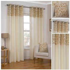 Vienna Cream Lightweight Eyelet/Ring Top Polyester Lined Readymade Curtain Pair 46x72in(116x182cm) Approximately By Hamilton McBride