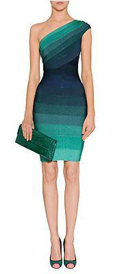Tonal Water Blue One Shoulder Bandage Dress by HERVÉ LÉGER   Luxury fashion online   STYLEBOP.com