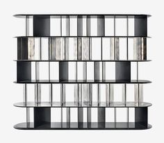 design Vincenzo De Cotiis - modular library with structure and partition panels in steel antique nickel silver finish. Cabinet Shelving, Bookcase Shelves, Cabinet Decor, Built In Shelves, Cabinet Furniture, Display Shelves, Kitchen Furniture, Bookcases, Built In Furniture