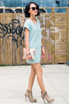 pastel dress and boots
