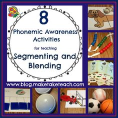 8 phonemic awareness activities for teaching segmenating and blending. Free printables.