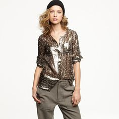 J. Crew Collection. Silk camp shirt in leopard lamé...rockin' with skinny pants.