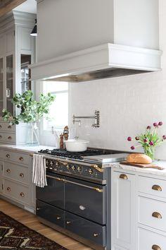 Hood vent/stove/ pot filler/ cabinets Hinsdale Kitchen Reveal - Park and Oak Interior Design Home Interior, Kitchen Interior, Kitchen Decor, Interior Design, Kitchen Ideas, Kitchen Designs, Rustic Kitchen, Coastal Interior, Eclectic Kitchen