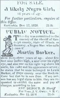Public Notice for the sale of a slave, Illinois