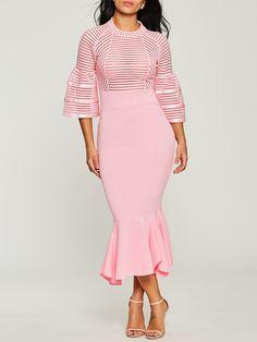 Fishtail Hem Bell Sheelve Back Zip Women's Sheath Dress