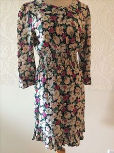 Ganni floral printed day dress with cinched waist ~ buttons up the chest size small ~ $70.00 + shipping.