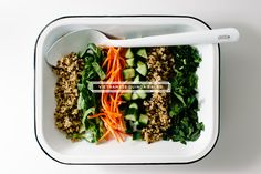 Quinoa tossed in a fish sauce dressing, with cucumber, carrot, scallions, cilantro, and mint. Light, refreshing, and filling