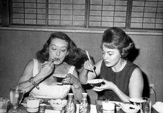 Awesome people hanging out together...  Bette Davis & Olivia de Havilland