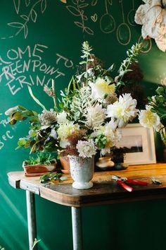 a wild, romantic flower arrangement by brooklyn-based florist lisa przystup in the greenpoint neighborhood of brooklyn, new york.