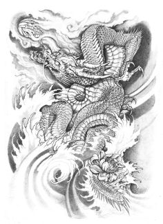 Water Dragon Tattoo Rising water dragon by devin-