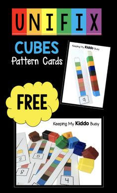 Unifix Cube pattern cards - FREE center for pre-k or kindergarten - easy math activity idea FREEBIE Preschool Centers, Numbers Preschool, Free Preschool, Preschool Printables, Preschool Classroom, Preschool Learning, Kindergarten Math, Math Centers, Preschool Activities