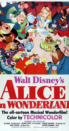 Directed by Clyde Geronimi, Wilfred Jackson, Hamilton Luske.  With Kathryn Beaumont, Ed Wynn, Richard Haydn, Sterling Holloway. Alice stumbles into the world of Wonderland. Will she get home? Not if the Queen of Hearts has her way.