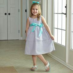 Girls Lavender Seersucker Ava Sash Dress – Lolly Wolly Doodle