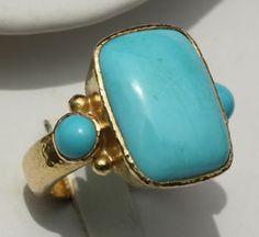 Elizabeth Locke Rectangle Turquoise Sleeping Beauty Ring 19kt yellow