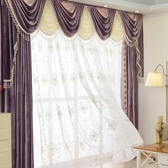 New arrival Twynam Purple and Red Waterfall and Swag Valance and Sheers Custom Made Chenille Velvet Curtains Pair. one pair velvet curtains and one pair sheers and one panel velvet valance. Silk Drapes, Velvet Curtains, Drapes Curtains, Waterfall Valance, Bedroom Drapes, Custom Curtains, Curtain Fabric, Curtain Call, Luxury