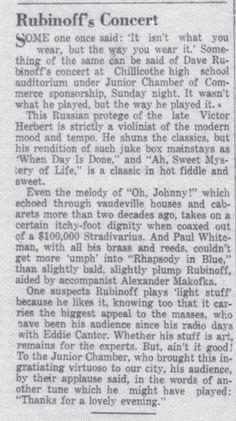 Rubinoff concert review from the 1930's 1930s, It Works, Concert, Words, Recital, Concerts, Festivals, Nailed It