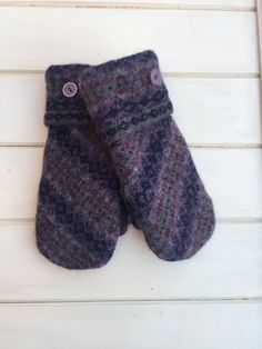 Women's Felted Wool Fair Isle Repurposed Sweater Mittens Size Small Purple Navy and Maroon Purple Buttons Navy Fleece Lining Ready to Ship by SewforYou on Etsy