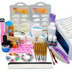 New 36W UV Dryer Lamp Glitter Powder French Nail Art Tips Gel Tools DIY Kit Sets #Unbranded