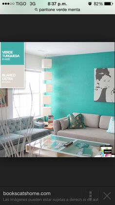 My dream house Colourful Living Room, Elegant Living Room, Azul Tiffany, Blue Green Bedrooms, Therapy Office Decor, Living Room Decor, Bedroom Decor, Home Upgrades, Paint Colors For Home