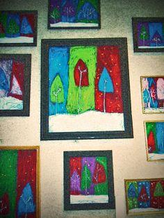 pastel trees #classroom #winter #art