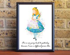 Disney Alice in Wonderland Watercolor Poster Print - Motivational Quote - Watercolor Art - Kids Decor- Nursery Decor [2]