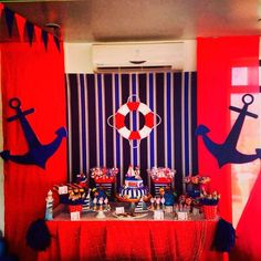 Nautical sailor themed Want this in pink Fiesta Baby Shower, Baby Shower Parties, Baby Shower Themes, Baby Boy Shower, Baby Shower Decorations, Shower Ideas, Sailor Baby Showers, Anchor Baby Showers, Sailor Party