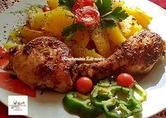 Burgonyaágyon sült fűszeres csirkecomb Chicken Wings, Recipes, Food, Recipies, Essen, Meals, Ripped Recipes, Yemek, Cooking Recipes
