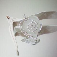 white sea glass wire wrapped heart pendant handmade coastal...