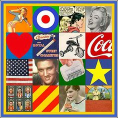 Buy art online- Sources of Pop Art III- signed limited edition silkscreen print by pop artist Sir Peter Blake from CCA Galleries Roy Lichtenstein, David Hockney, Jasper Johns, Robert Rauschenberg, Cultura Pop, Peter Blake Artist, Andy Warhol Obra, Illustrations, Illustration Art