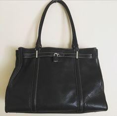 Ann Taylor Handbag Black Pebbled Leather Satchel Bag Purse #AnnTaylor #Satchel