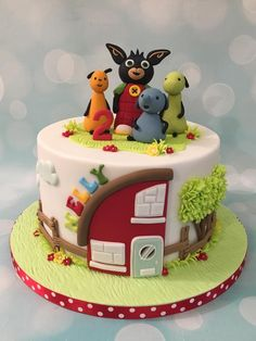 Bing bunny and friends birthday celebration cake with house and tree
