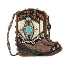 Mary Frances Two Step Boot Boots Western Cowbory Turquoise Handbag Purse Bag New #MaryFrances #EveningBag