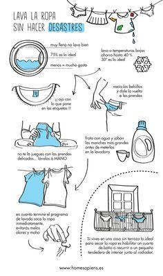 Lava la ropa sin hacer desastres... ¡No te queda otra! http://homesapiens.es/2014/03/evita-los-desastres-al-lavar-la-ropa/