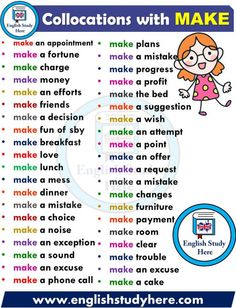 English Collocations – MAKE – Learn english English Verbs, Learn English Grammar, English Writing Skills, English Phrases, Learn English Words, English Study, English Lessons, English Learning Spoken, English Language Learning